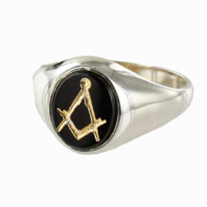 Hallmarked Solid Silver Onyx Masonic Ring Square and Compass With or Without G