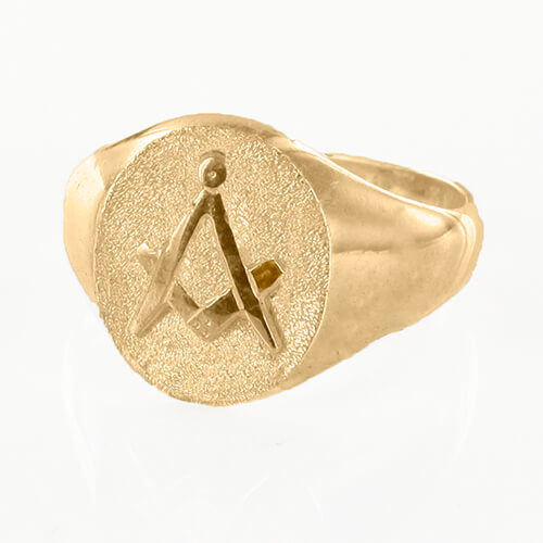 Oval Head Gold Plated Masonic Signet Ring Bearing the Square & Compass Symbol/Seal
