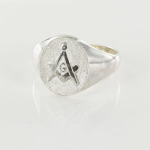 Oval Head Silver Masonic Signet Ring Bearing the Square & Compass Symbol/Seal