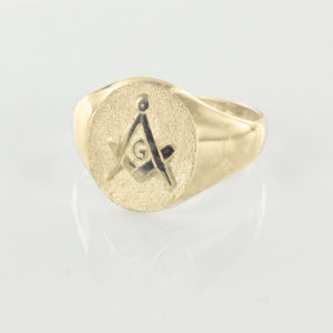Oval Head Gold Masonic Signet Ring Bearing the Square & Compass Symbol/Seal