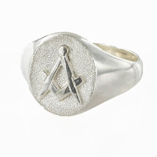 Oval Head Silver Masonic Signet Ring Bearing the Square & Compass Symbol/Seal 1