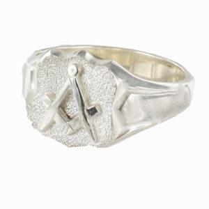 Shield Head Silver Masonic Signet Ring Bearing the Square & Compass Symbol/Seal