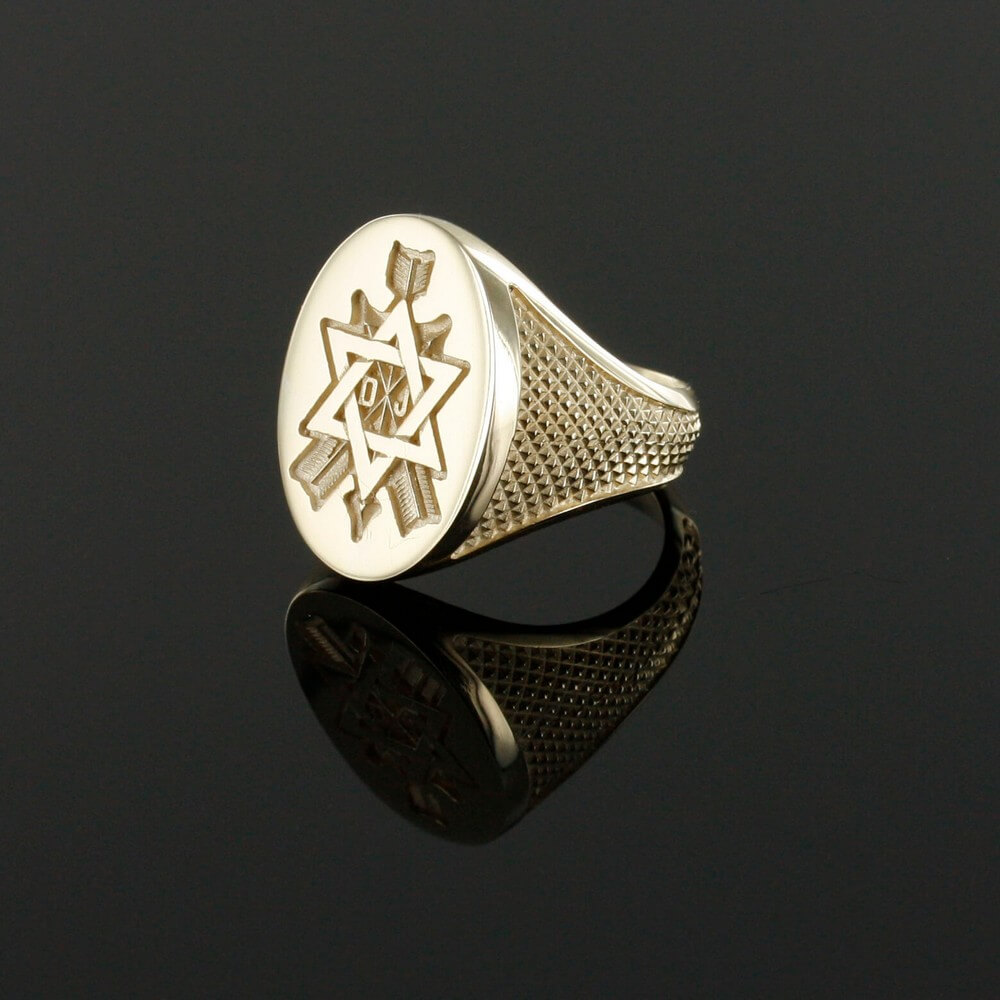 Order of the Secret Monitor Solid 9ct Gold Masonic Ring