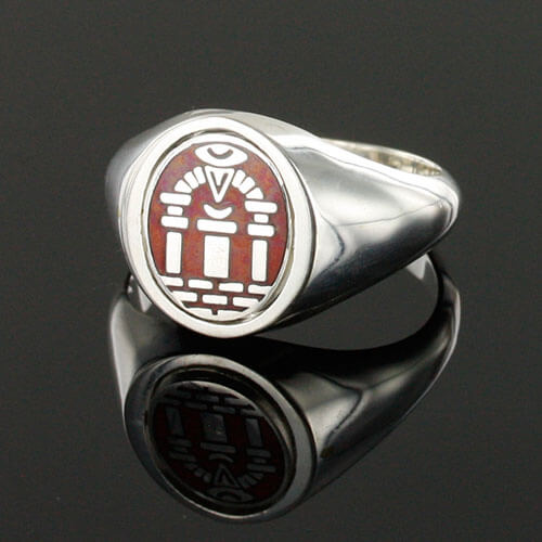 Reversible Solid Silver Royal Arch Masonic Ring (Red) 4