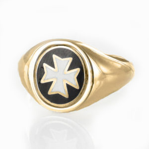 Reversible Gold Plated Solid Silver Knights of Malta Masonic Ring