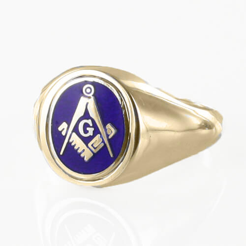 Blue Reversible Gold Plated Solid Silver Square and Compass with G Masonic Ring