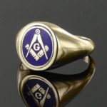Blue Reversible Gold Plated Solid Silver Square and Compass with G Masonic Ring 3