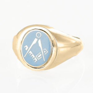 Light Blue Reversible Gold Plated Solid Silver Square and Compass Masonic Ring
