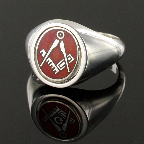 Red Reversible Solid Silver Square and Compass Masonic Ring 3