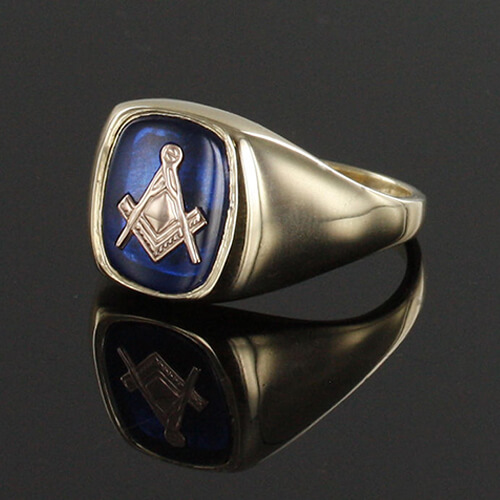 9ct Gold Synthetic Sapphire Square And Compass Masonic Ring