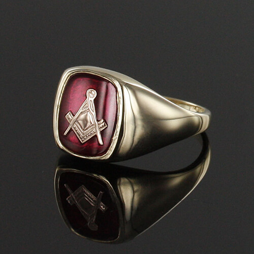 9ct Gold Synthetic Ruby Square And Compass Masonic Ring