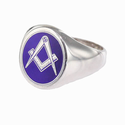 Silver Oval Head with Blue Enamel Square And Compass Masonic Ring