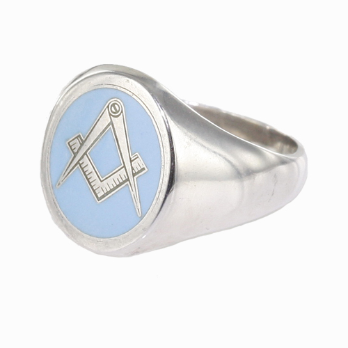 Silver Oval Head with Light Blue Enamel Square And Compass Masonic Ring