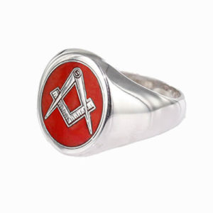 Silver Oval Head with Red Enamel Square And Compass Masonic Ring