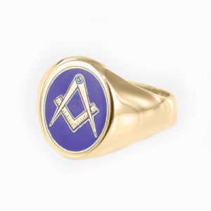 Gold Plated Oval Head with Blue Enamel Square And Compass Masonic Ring