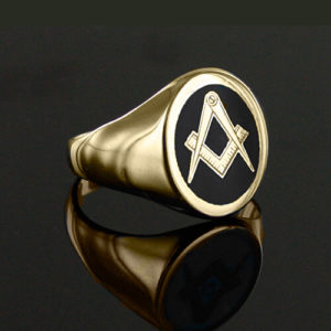 Gold Plated Oval Head with Black Enamel Square And Compass Masonic Ring