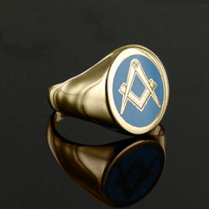 Gold Plated Oval Head with Light Blue Enamel Square And Compass Masonic Ring