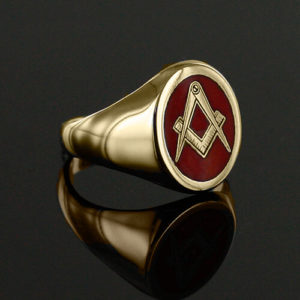Gold Plated Oval Head with Red Enamel Square And Compass Masonic Ring