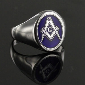 Silver Square And Compass with G Oval Head Masonic Ring (Blue)