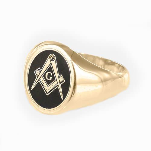 Gold Plated Solid Silver Square And Compass with G Oval Head Masonic Ring (Black)