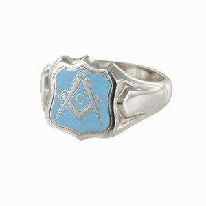 Silver Square And Compass with G Shield Head Masonic Ring (Light Blue)