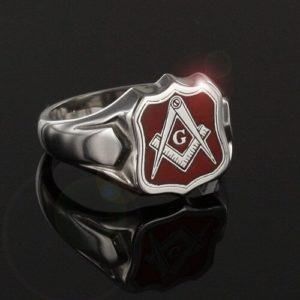 Silver Square And Compass with G Shield Head Masonic Ring (Red)