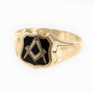 Gold Plated Solid Silver Square And Compass Shield Head Masonic Ring (Black)