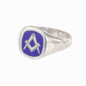 Silver Square And Compass Square Head Masonic Ring (Blue)