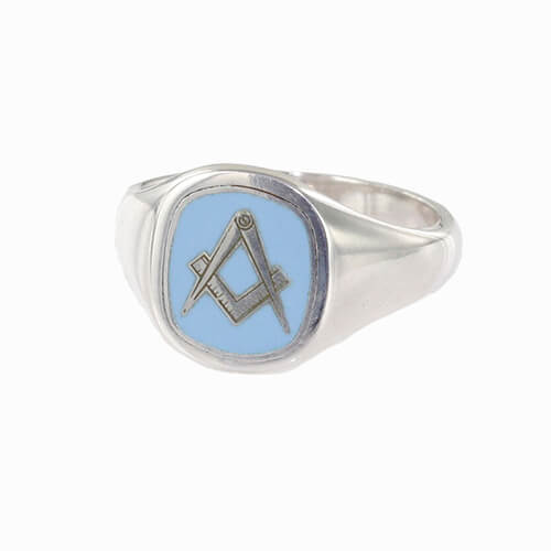 Silver Square And Compass Square Head Masonic Ring (Light Blue)
