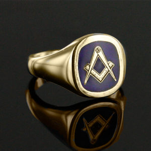 Gold Plated Solid Silver Masonic Square & Compass Ring (Blue)