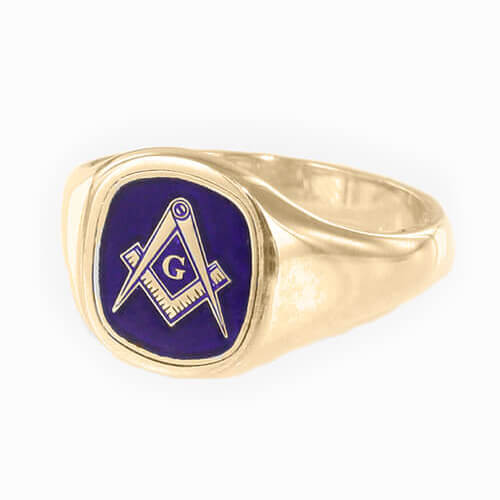 Gold Plated Solid Silver Masonic Square & Compass with G Ring (Blue)