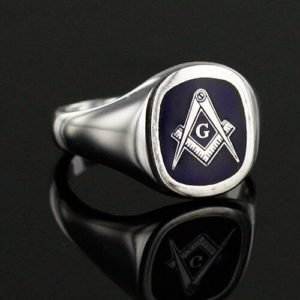 Cushion Shaped Masonic Square & Compass with G Signet Ring (Blue)