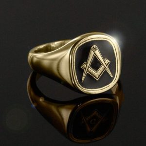 Gold Plated Solid Silver Masonic Square & Compass Ring (Black)