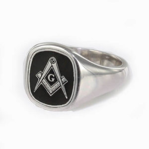Cushion Shaped Masonic Square & Compass with G Signet Ring (Black)