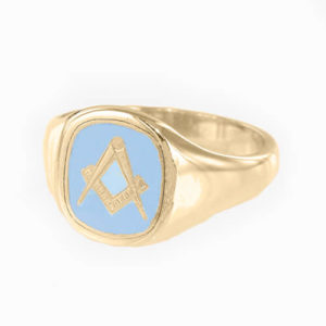 Gold Plated Solid Silver Masonic Square & Compass Ring (Light Blue)