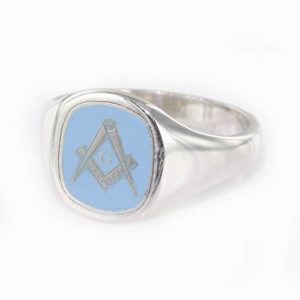 Cushion Shaped Masonic Square & Compass with G Signet Ring (Light Blue)