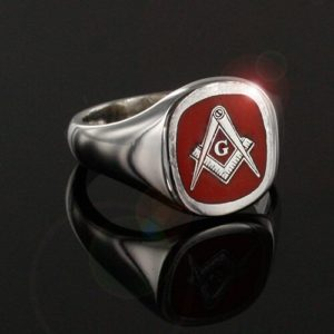 Cushion Shaped Silver Masonic Square & Compass with G Signet Ring (Red)