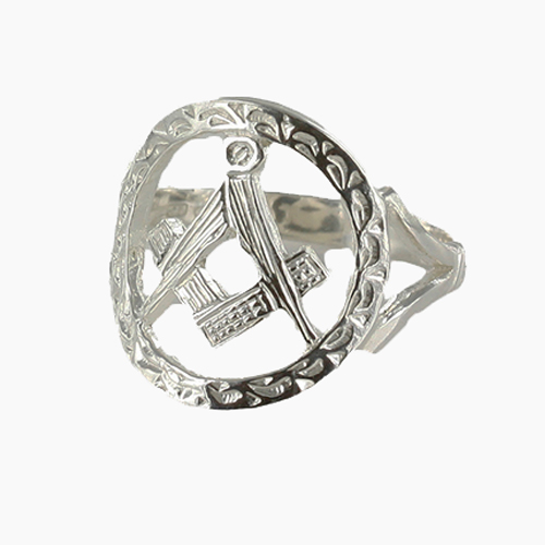 Small Silver Pierced Design Square and Compass Masonic Ring 1
