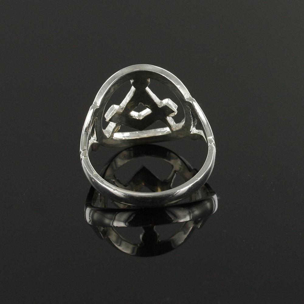 Small Silver Pierced Design Square and Compass Masonic Ring 5