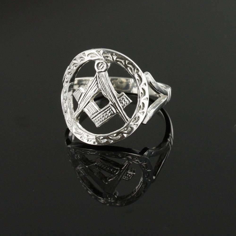 Small Silver Pierced Design Square and Compass Masonic Ring 3