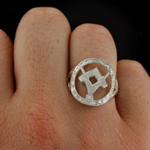 Small Silver Pierced Design Square and Compass Masonic Ring