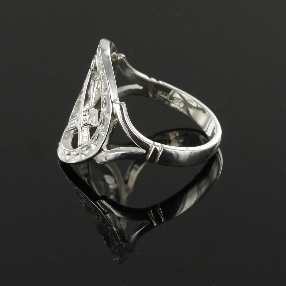 Small Silver Pierced Design Square and Compass Masonic Ring 4