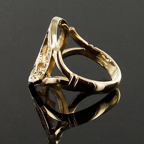 Small Gold Pierced Design Square and Compass Masonic Ring 3