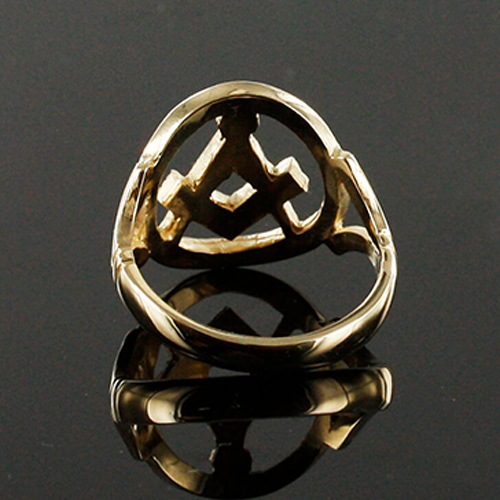 Small Gold Pierced Design Square and Compass Masonic Ring