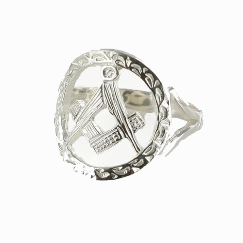 Large Silver Pierced Design Square and Compass Masonic Ring 1