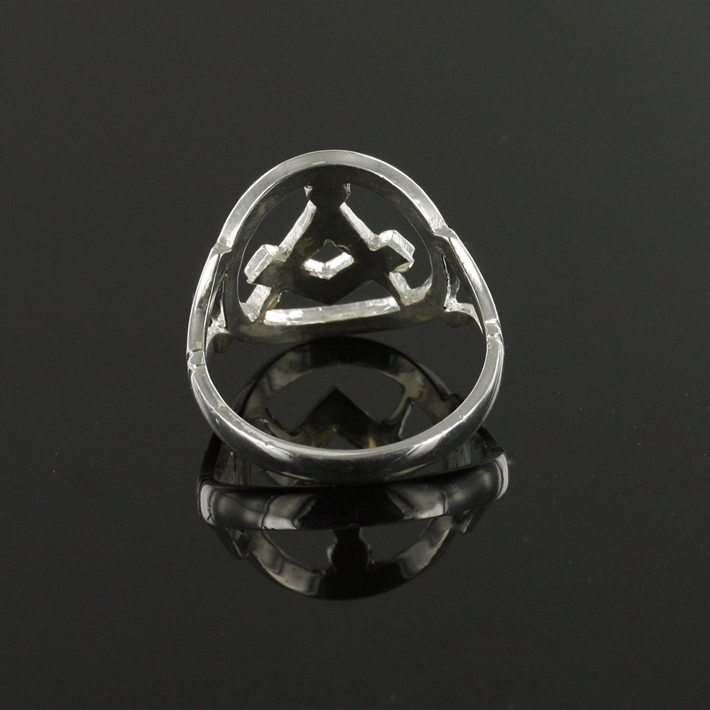 Large Silver Pierced Design Square and Compass Masonic Ring 5