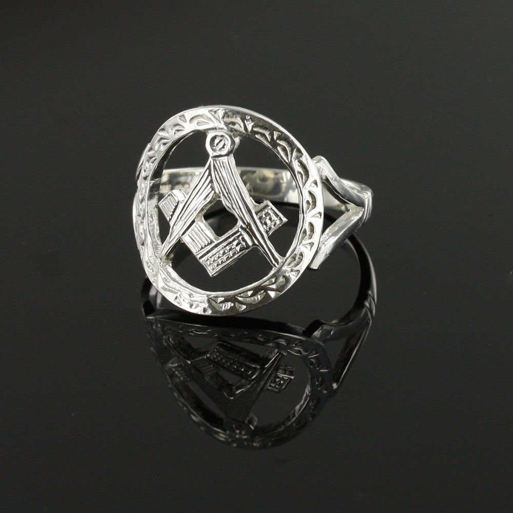 Large Silver Pierced Design Square and Compass Masonic Ring