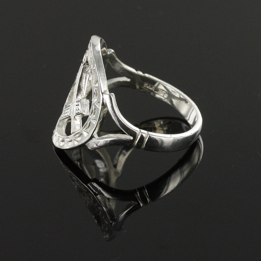 Large Silver Pierced Design Square and Compass Masonic Ring 4