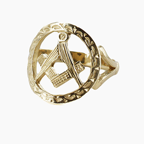 Large Gold Pierced Design Square and Compass Masonic Ring
