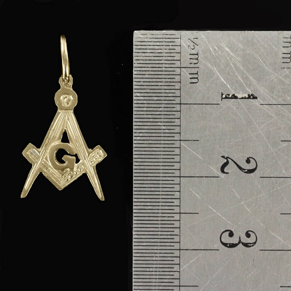 Hallmarked 9ct Gold Masonic Square And Compass Pendant